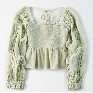 American Eagle Square Neck Off the Shoulder Peasant Top